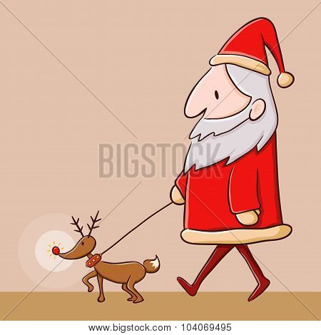 Santa Claus Walking With Reindeer