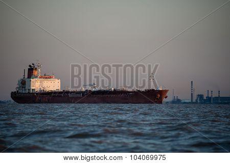 Cargo Ship Sailing Through Buenos Aires Argentina.