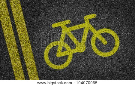 Cycling Icon in a road