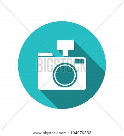 Icon photo camera white cuted on blue round backdrop