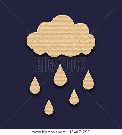Carton paper cloud with rain drops