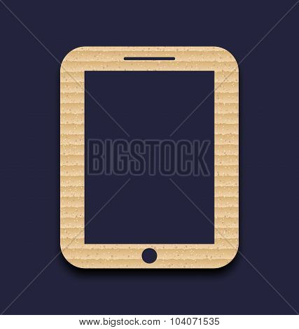 Abstract carton paper tablet pc isolated on dark background