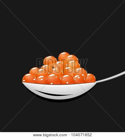 Teaspoon with red caviar isolated on black background