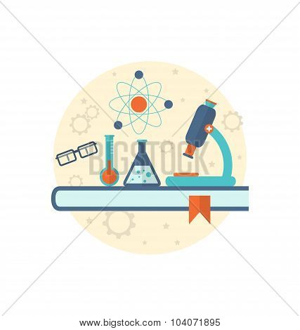 Chemical engineering background with flat icon of objects