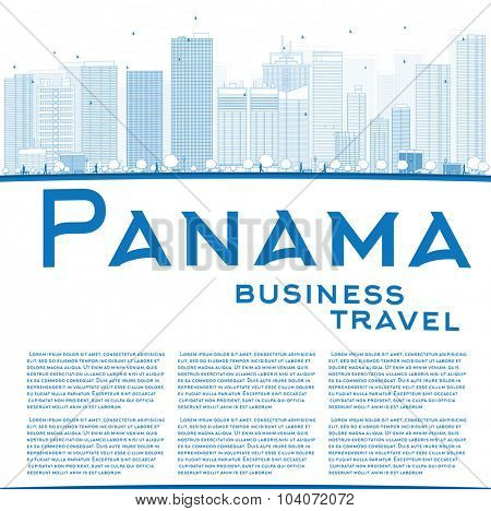 Outline Panama City skyline with blue skyscrapers and copy space. Vector Illustration. Business travel and tourism concept with place for text. Image for presentation, banner, placard and web site.
