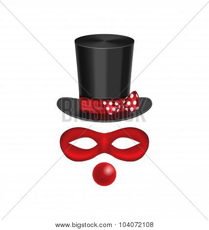 Accessories for clown - hat, mask, red nose are isolated on whit