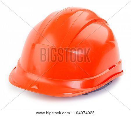Orange plastic construction Helmet on a white background