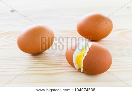 Boiled Eggs, Three Eggs Are Lined.