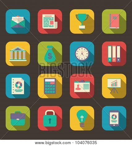 Flat colorful icons of web business and financial objects, long