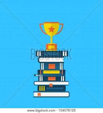 Flat icons of heap textbooks and cup of award