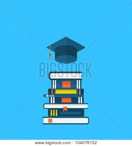Flat icons of graduation cap and  heap textbooks