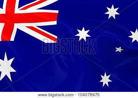 Waving Flag Of Australia - 3D Render Of The Australian Flag With Silky Texture