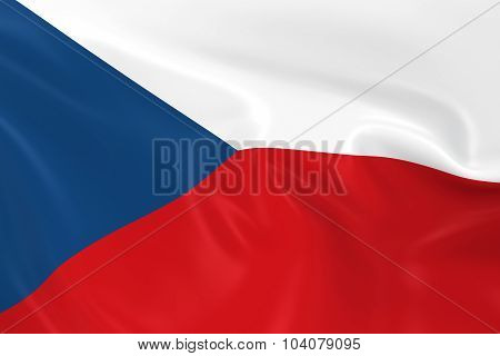 Waving Flag Of The Czech Republic - 3D Render Of The Czech Flag With Silky Texture