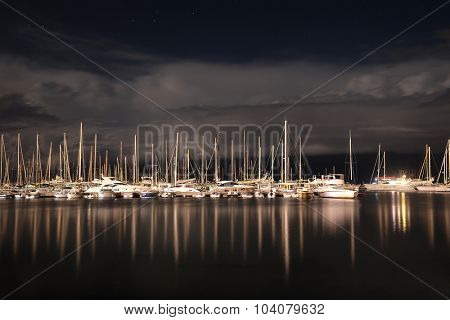 Night landscape with the image of harborn in Bar, Montenegro