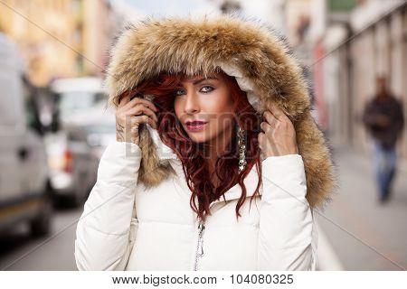 Beautiful Fashion Model In Fur Coat