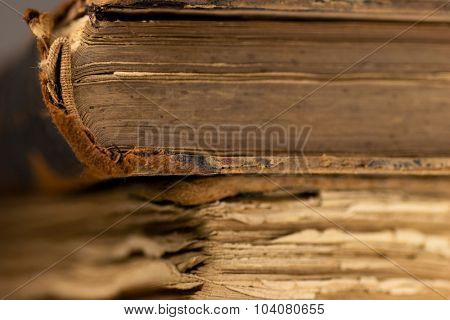 Antique books showing aging of the pages.