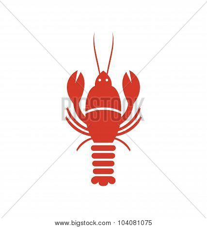 Crayfish Icon in Minimal Style