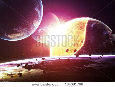 Planet Explosion - Apocalypse - End of The Time. Elements of thi