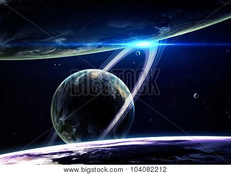 Beautiful Planets in deep black cosmos with space background. El