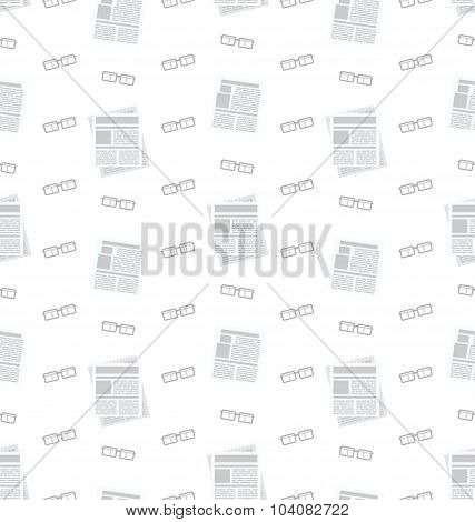 Seamless Pattern with Newspapers and Eyeglasses, Flat Business Icons, Repeating Backdrop