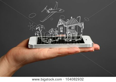 Concept of planning vacation - smartphone with vector illustrations