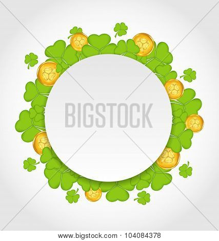 Greeting card with shamrocks and golden coins for St. Patrick's