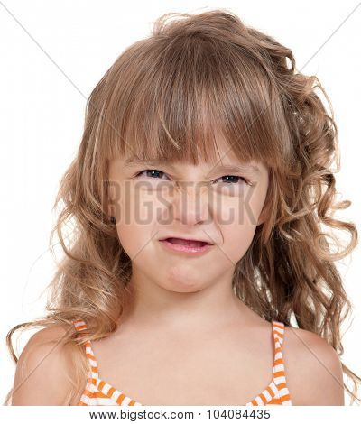 Portrait of a pretty little girl in dress on white background