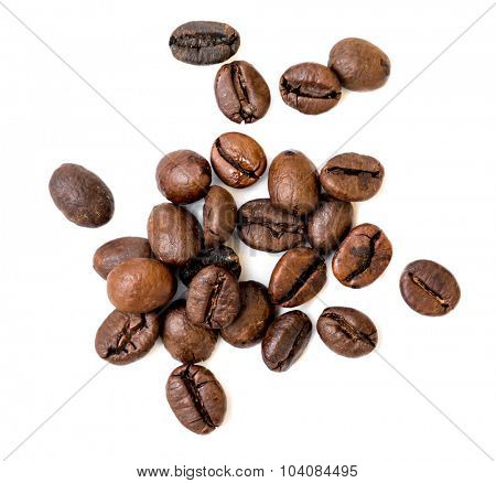 coffee beans isolated over white