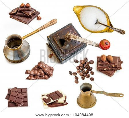 collection of photos of chocolate and coffee isolated on white background