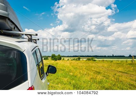 close up of car at  wonderful countryside landscape