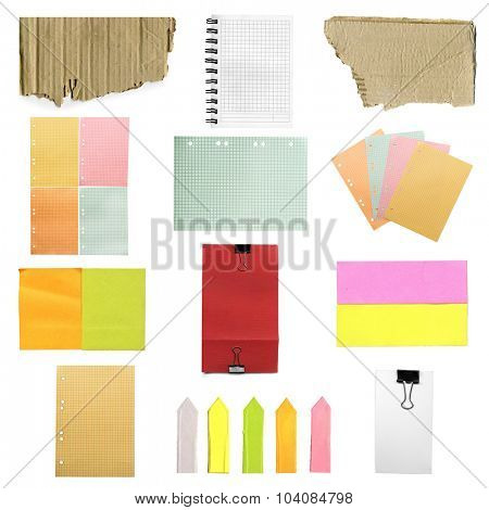 collage of paper sheets isolated on white background