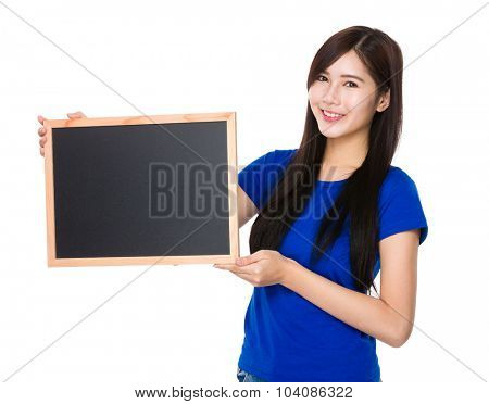 Young woman show with chalkboard