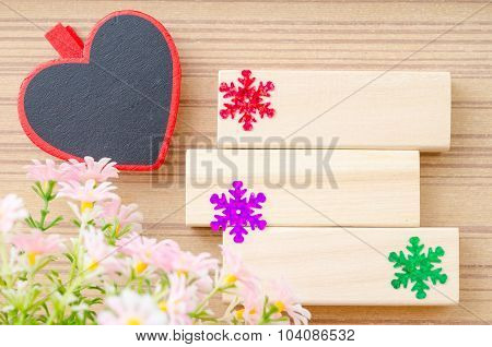 Blank Wooden Tag Red Heart Shape.