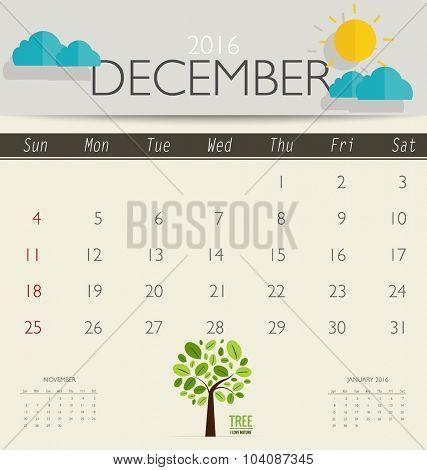 2016 calendar, monthly calendar template for December. Vector illustration.