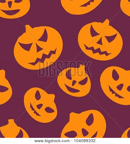 Seamless Texture with Carving Pumpkins
