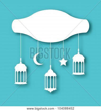 Eid Mubarak greeting card with decoration