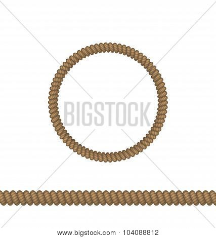 Circle and line rope elements isolated on white background