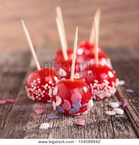 candy apple on stick