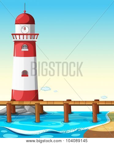 Lighthouse by the bridge illustration