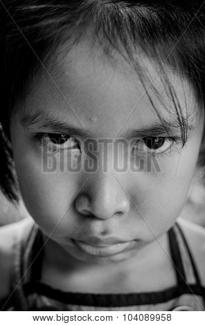 A Sad Little Asian Girl  People, Emotion Concept