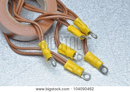 Cables and tape for use in electrical installations with place for text