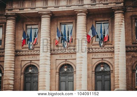 Entrance To The Palais De Justice In Paris France