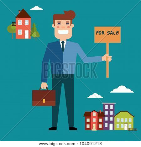 Agent for the sale of real estate or a home buyer holding a port