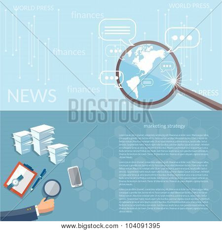 News Finance Concept Marketing Strategy Business Analyst Office Work vector banners