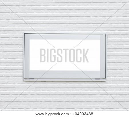 Sliver metal window frame on white modern brick wall