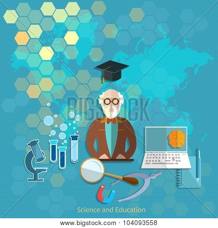Education And Science Concept Professor Teacher University College Chemistry Physics Theory Lecture