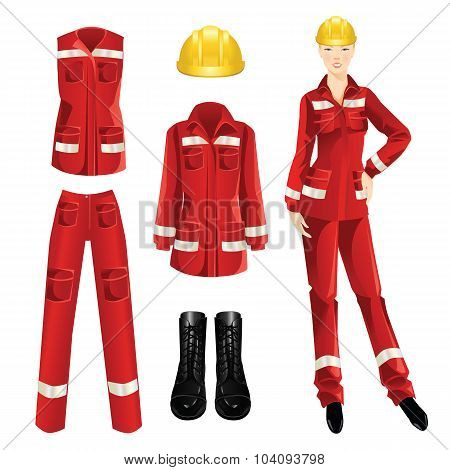 Woman worker and protective wear