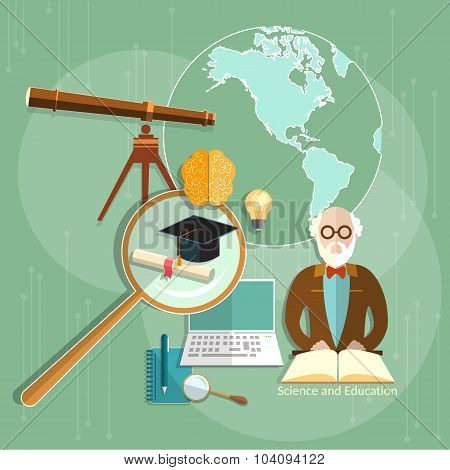 Education Concept E-learning Professor Teachers Science Knowledge University Vector Illustration