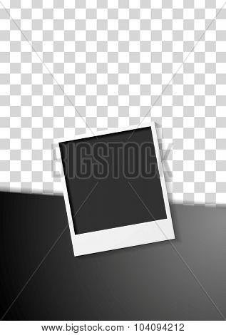 Black flyer design with polaroid photo frame. Vector background