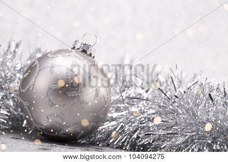 Closeup on Christmas balls with garland